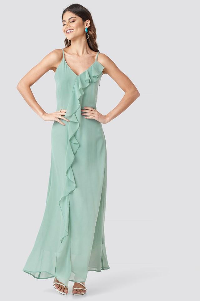 Thin Strap Ruffle Detail Dress Dusty Green