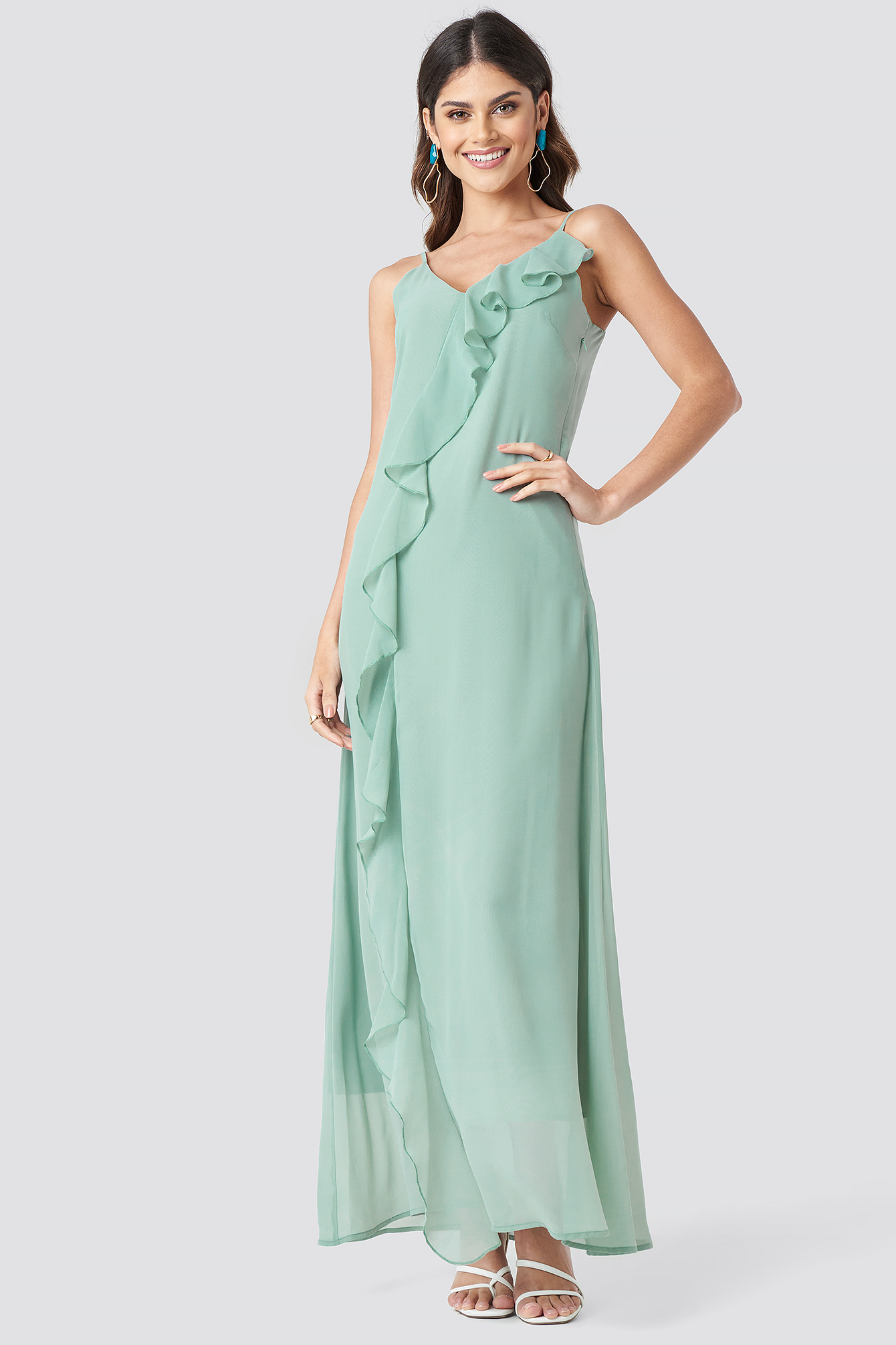 Thin Strap Ruffle Detail Dress NA-KD.COM