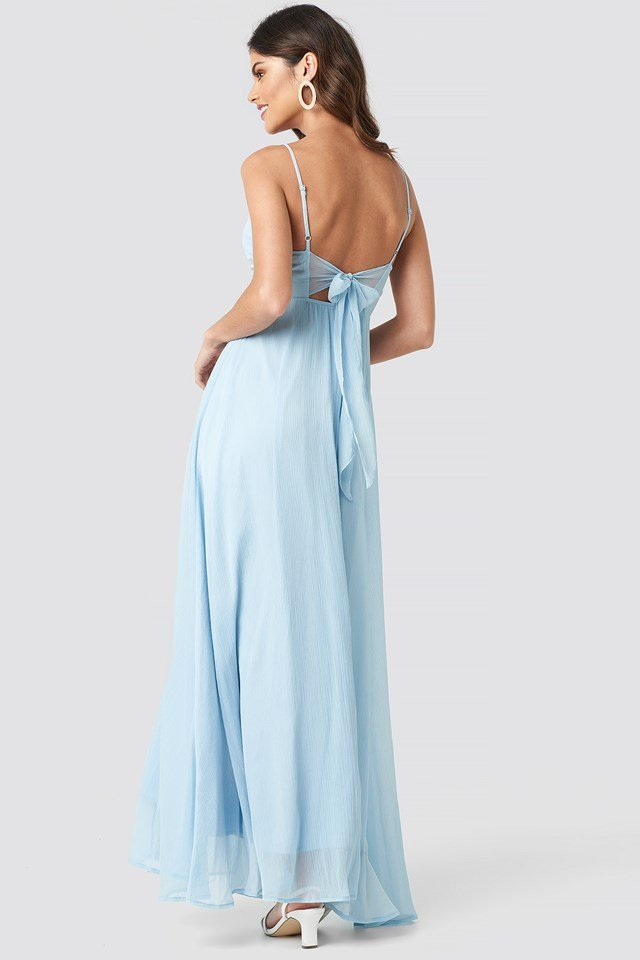 Tie Back Detail Maxi Dress Light Blue
