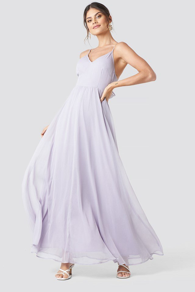 Tie Back Detail Maxi Dress Dusty Lavender