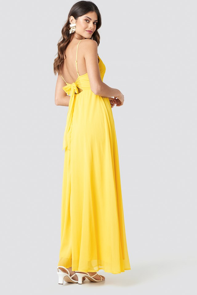 Tie Back Detail Maxi Dress Yellow