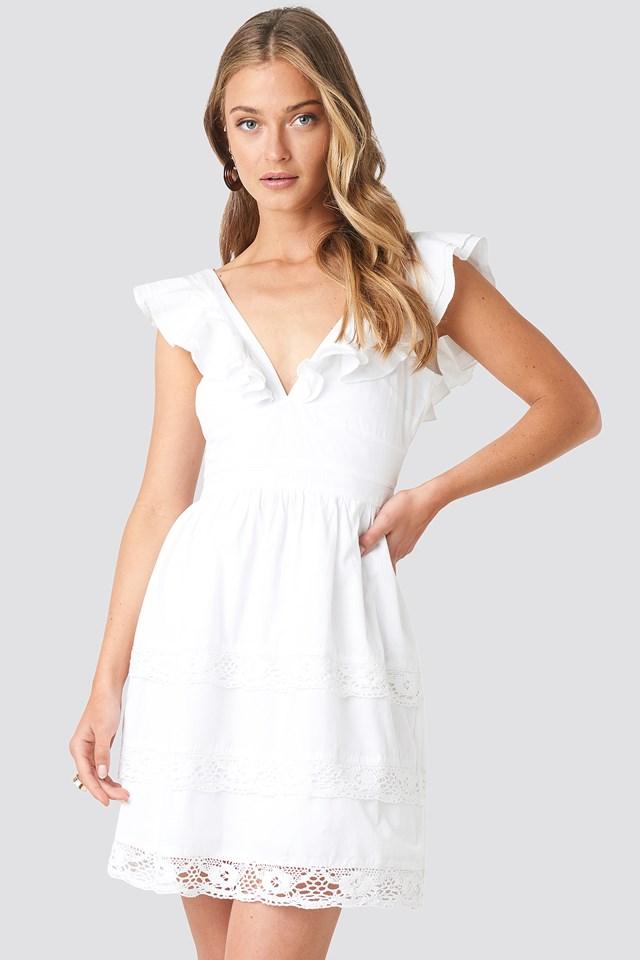 Tie Back Layered Flounce Dress White
