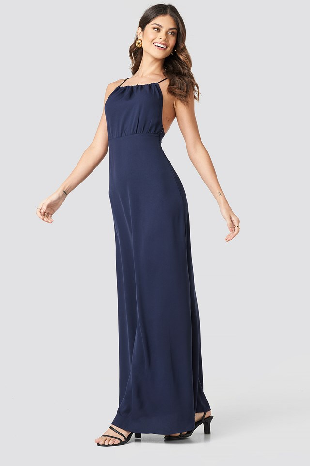 Tie Back Maxi Dress Dark Blue
