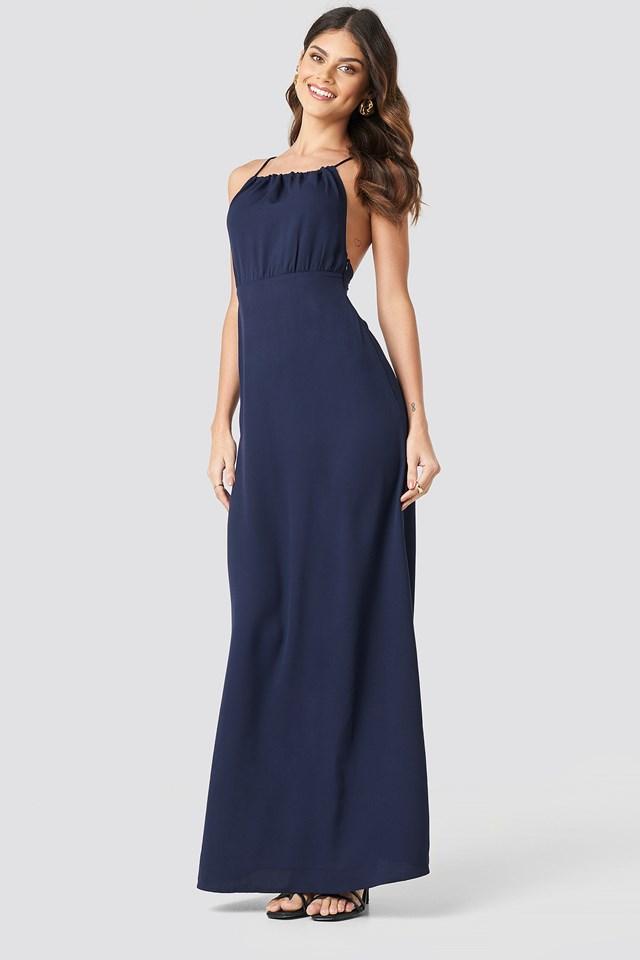 Tie Back Maxi Dress Dark Blue