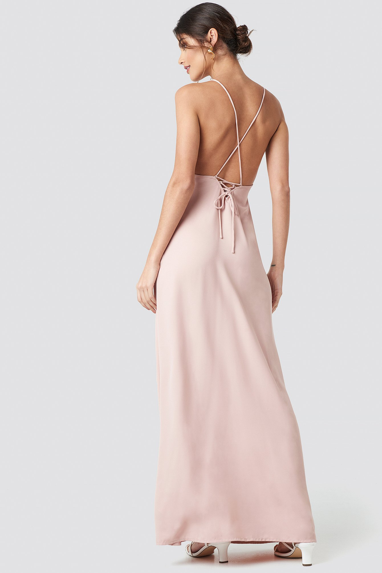na-kd party -  Tie Back Maxi Dress - Pink