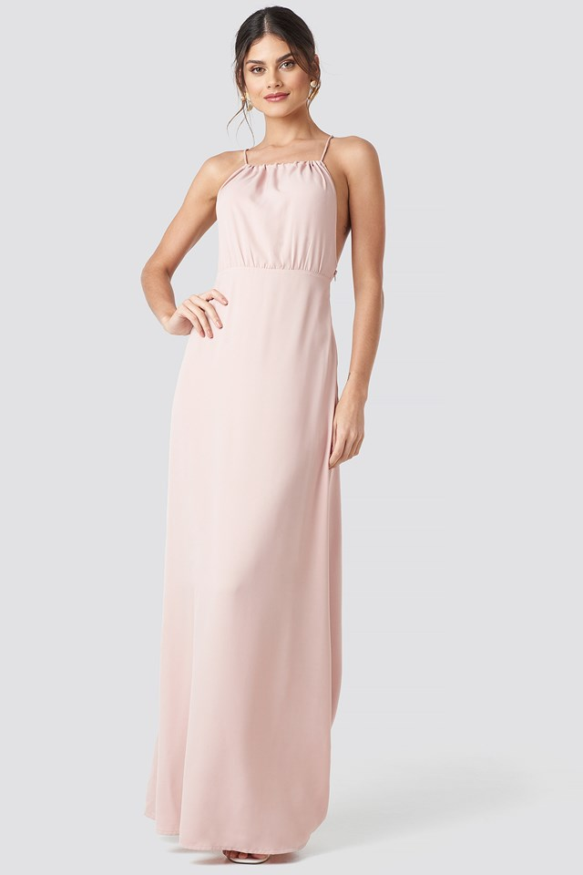 Tie Back Maxi Dress Dusty Pink
