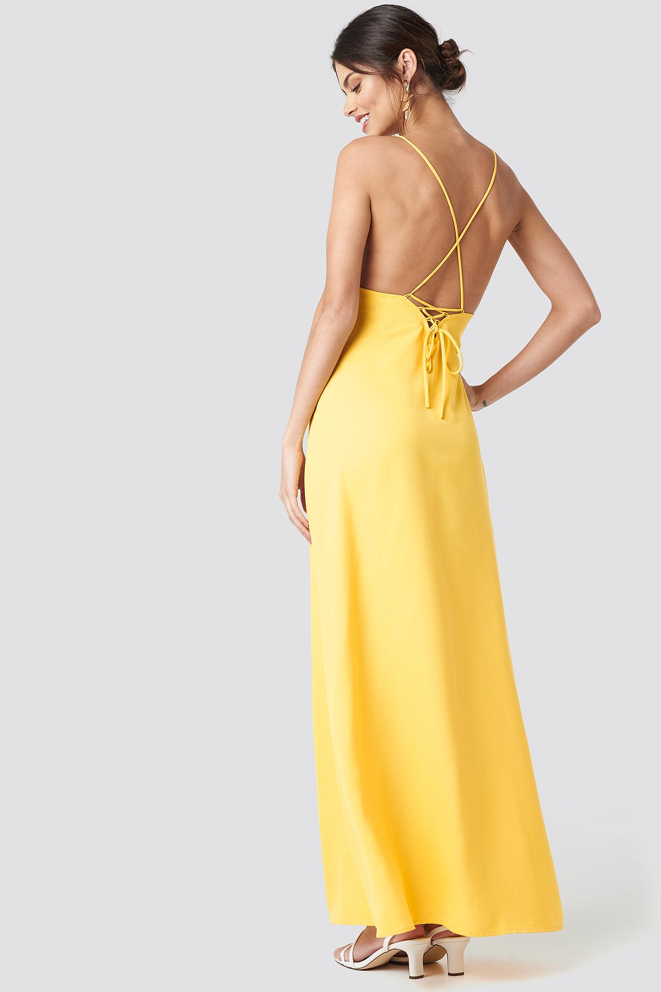 cd1f2fc348fd Tie Back Maxi Dress Yellow | na-kd.com