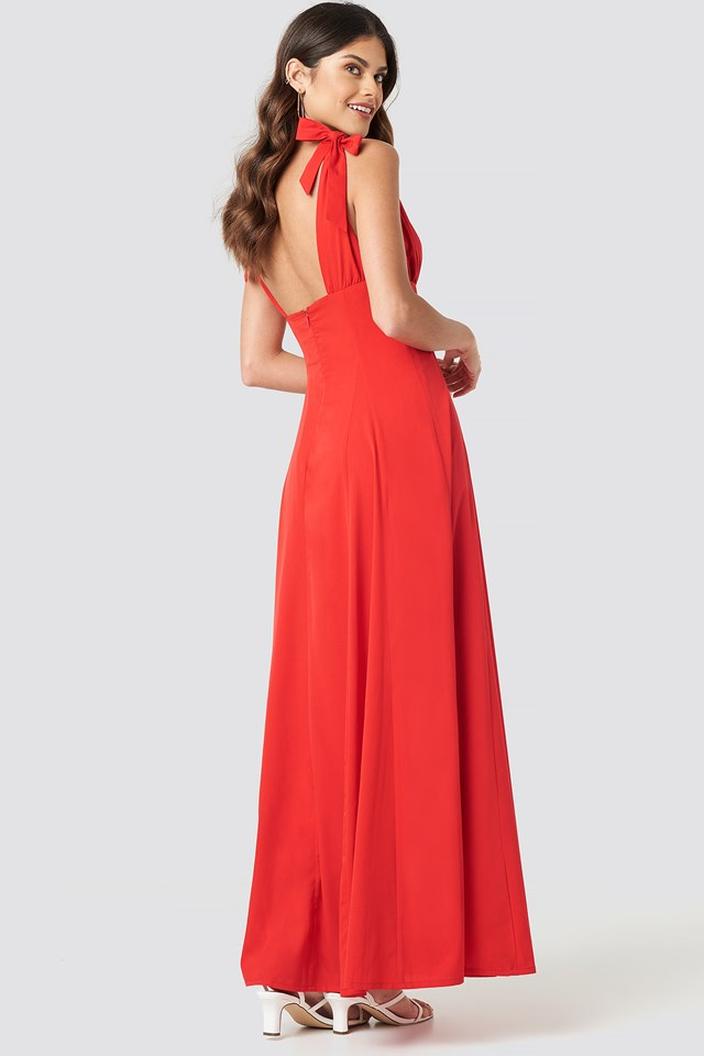 Tie Detail Open Back Maxi Dress Red