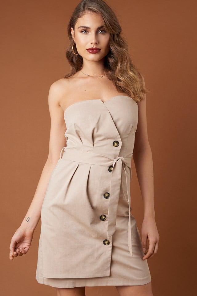 Tie Waist Paperbag Mini Dress NA-KD Trend