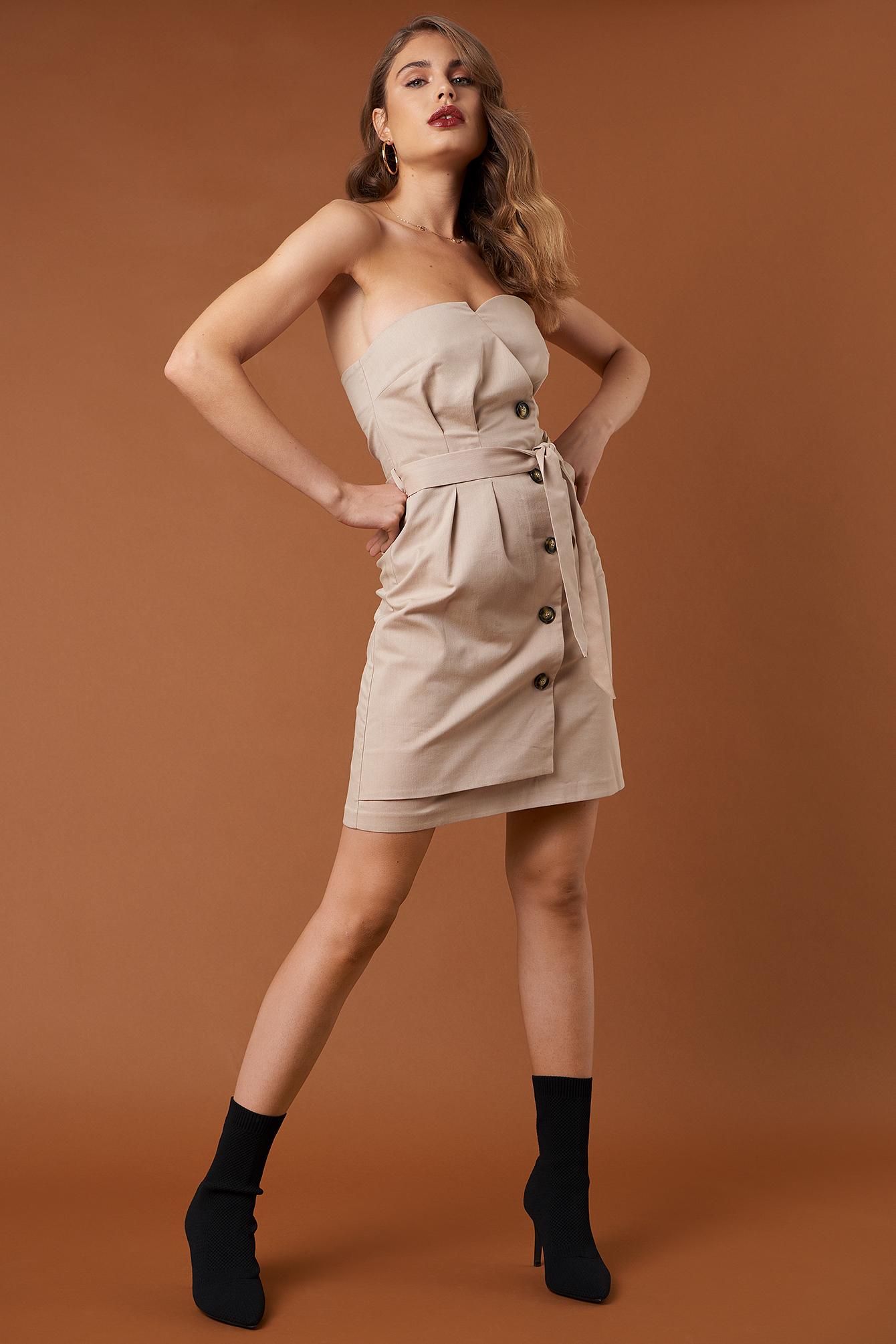 Tie Waist Paperbag Mini Dress NA-KD.COM