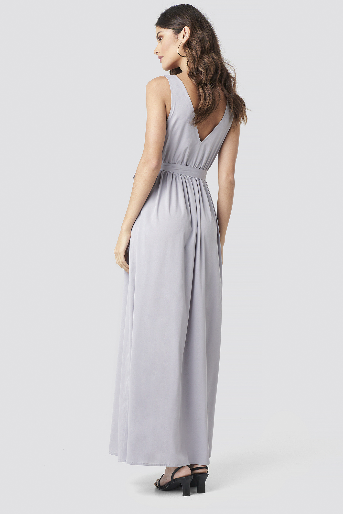 Tie Waist Slit Maxi Dress NA-KD.COM