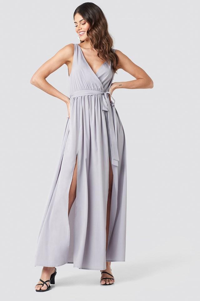 Tie Waist Slit Maxi Dress Dusty Lavender