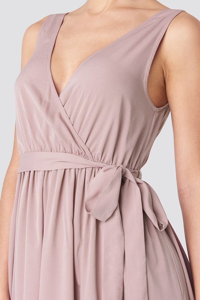 Tie Waist Slit Maxi Dress Dusty Pink