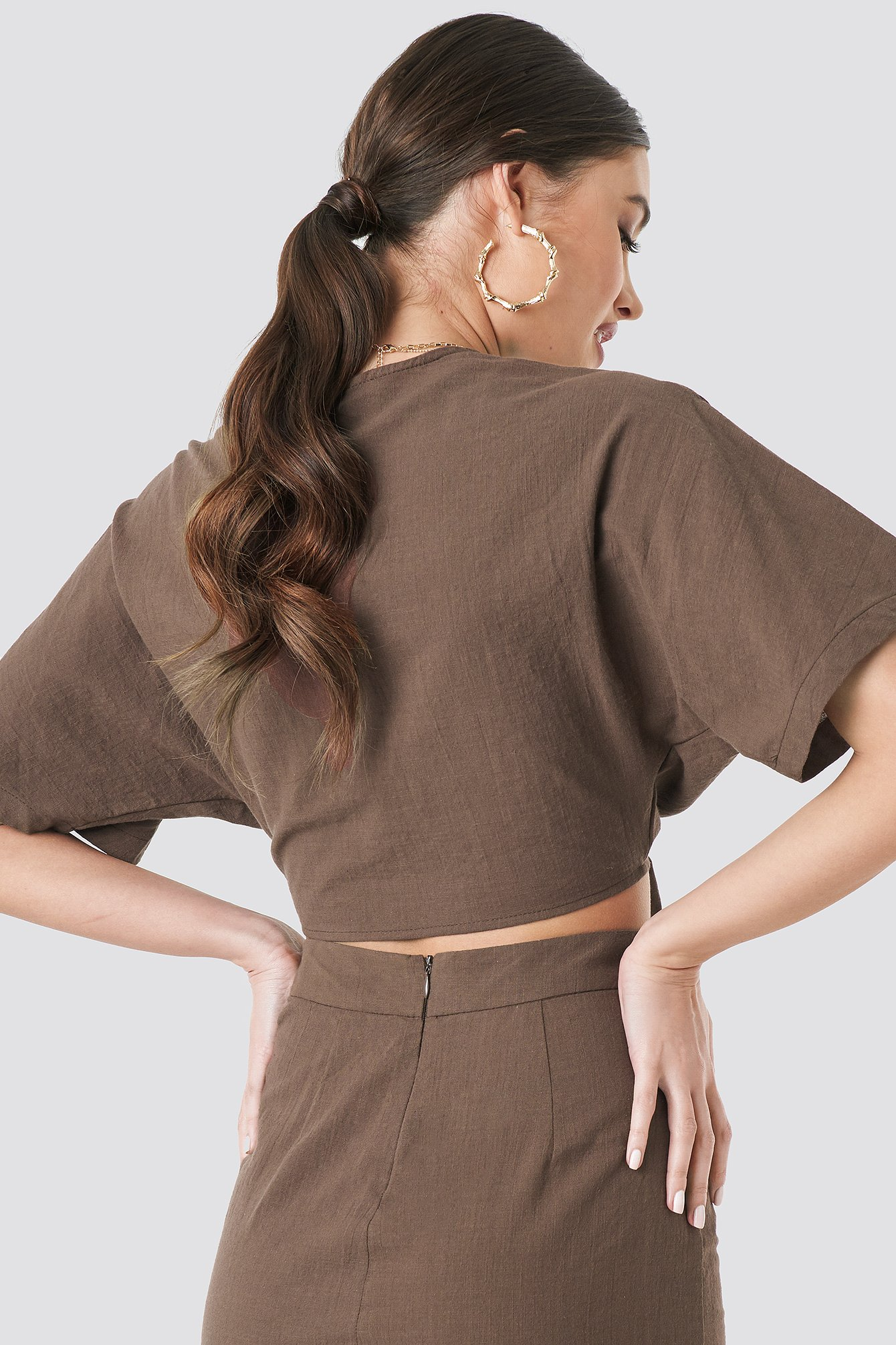 Tied Front Linen Look Blouse NA-KD.COM