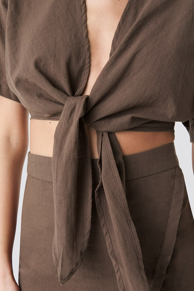 Tied Front Linen Look Blouse Brown