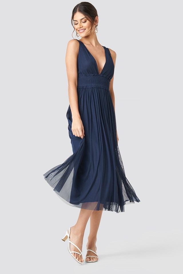 V-neck Tulle Midi Dress Dark Blue