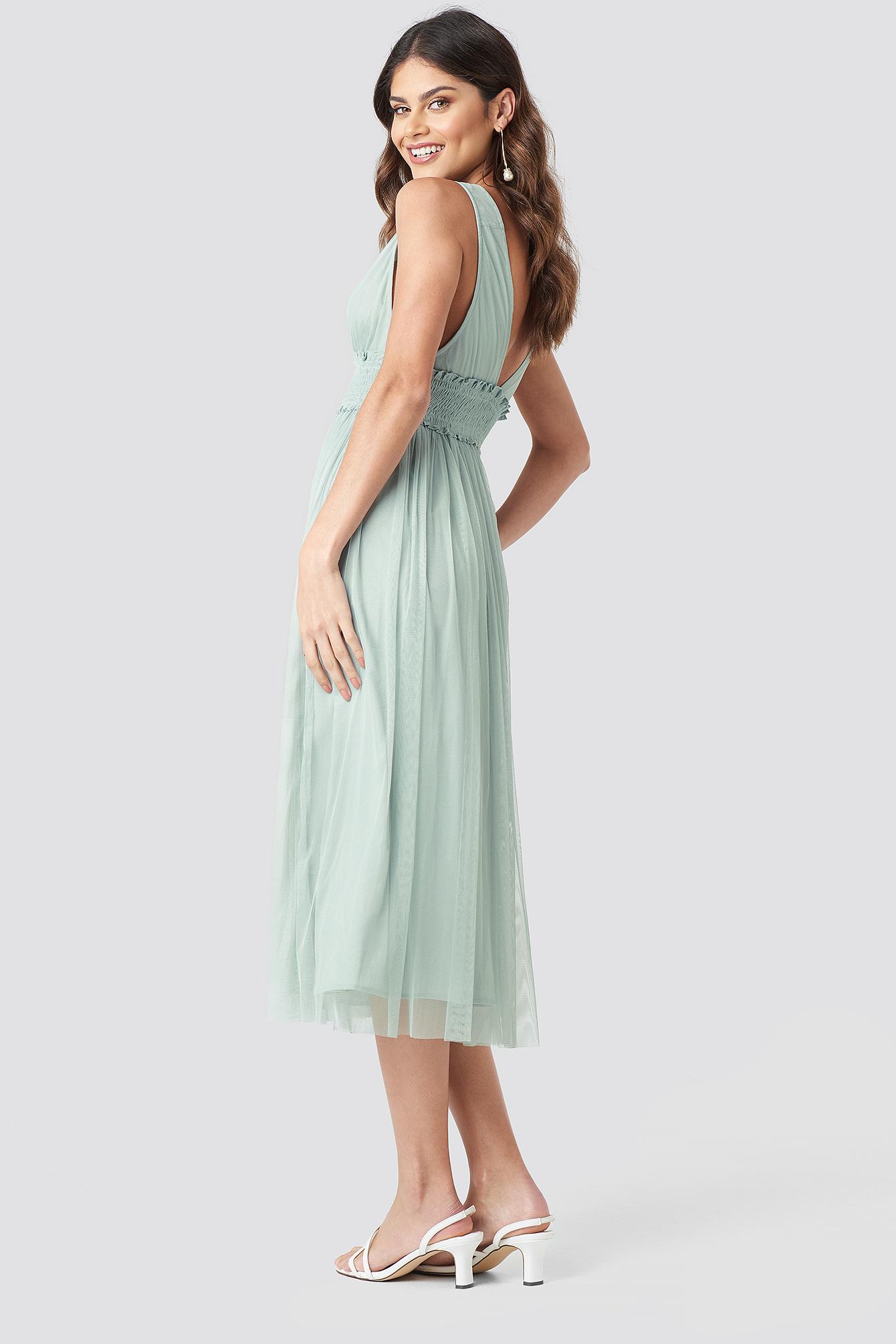 V-neck Tulle Midi Dress NA-KD.COM