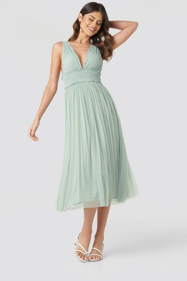 V-neck Tulle Midi Dress Dusty Green