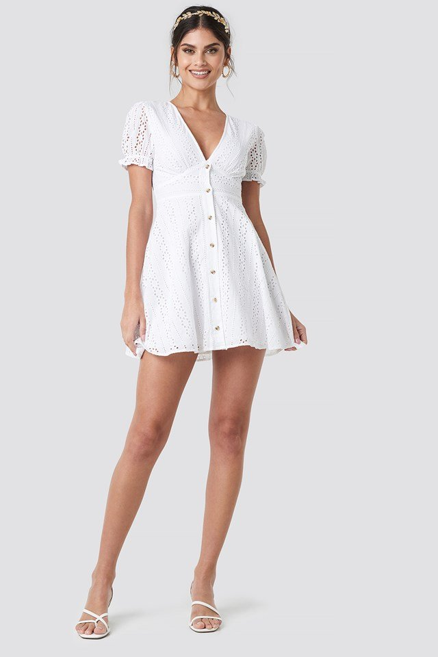 V-Neck Anglaise Mini Dress White