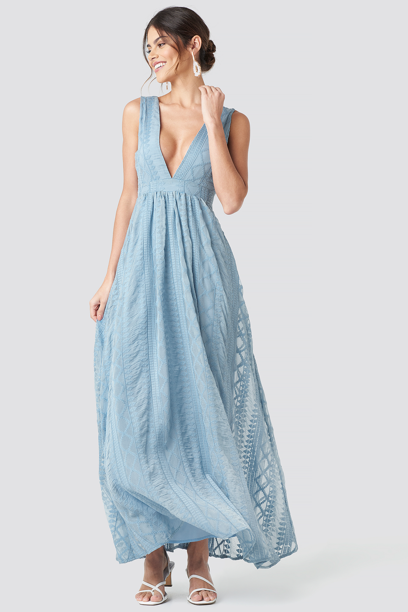 V Neck Embroidery Maxi Dress Blue by Na Kd Party