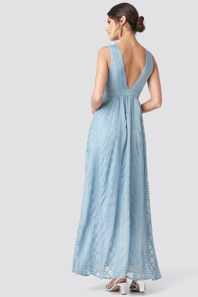 V-neck Embroidery Maxi Dress Light Blue