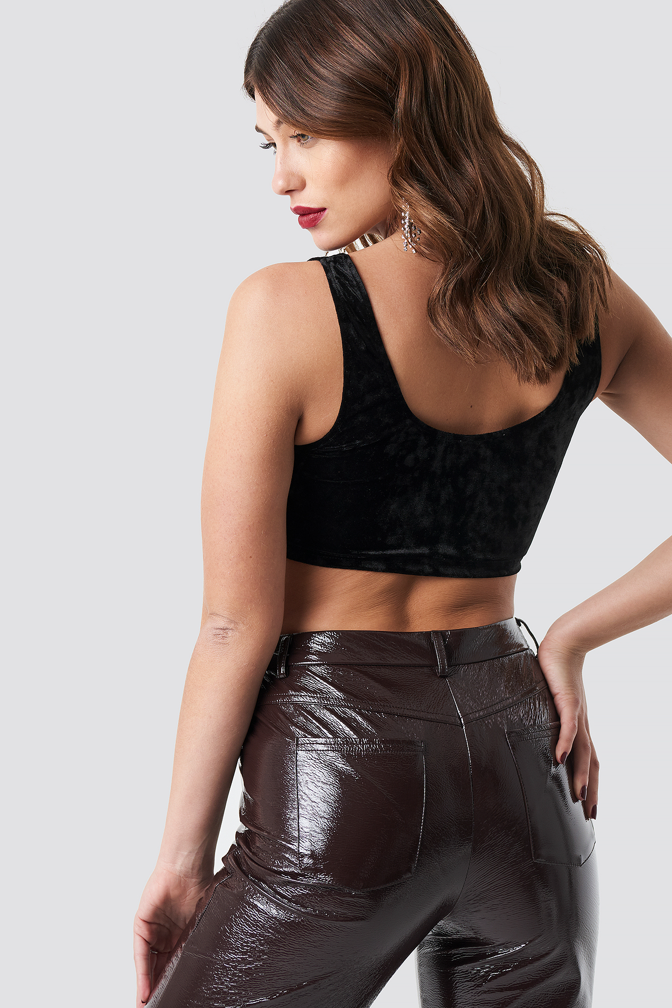 Black Velvet Cropped Cup Top