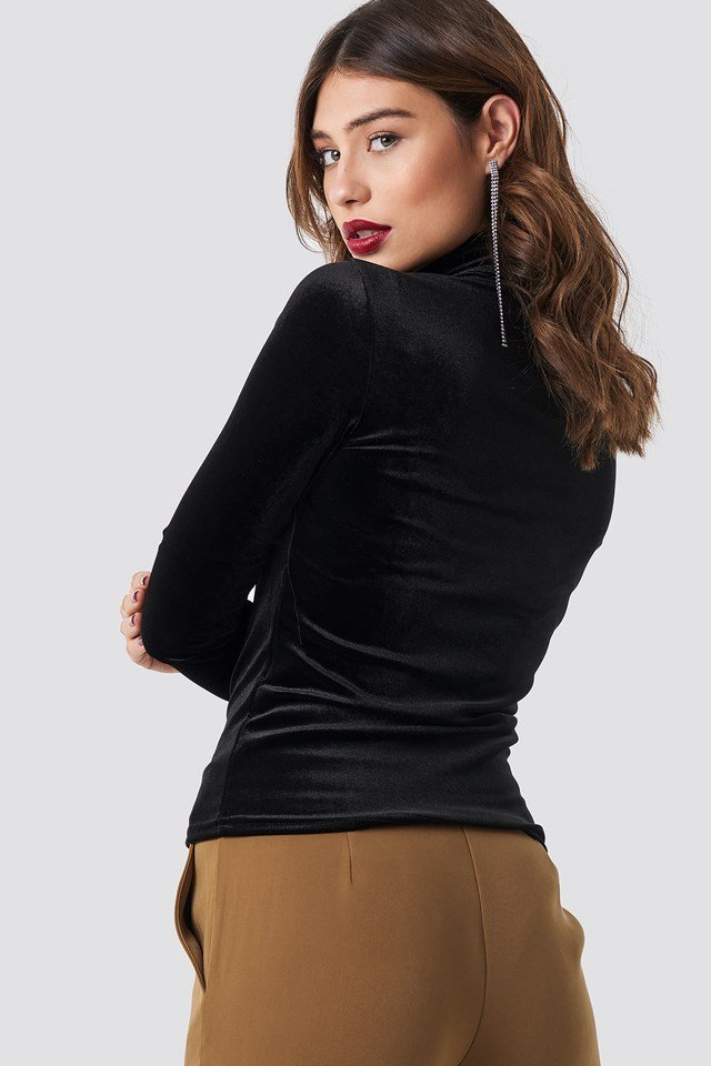 Velvet Polo Top Black