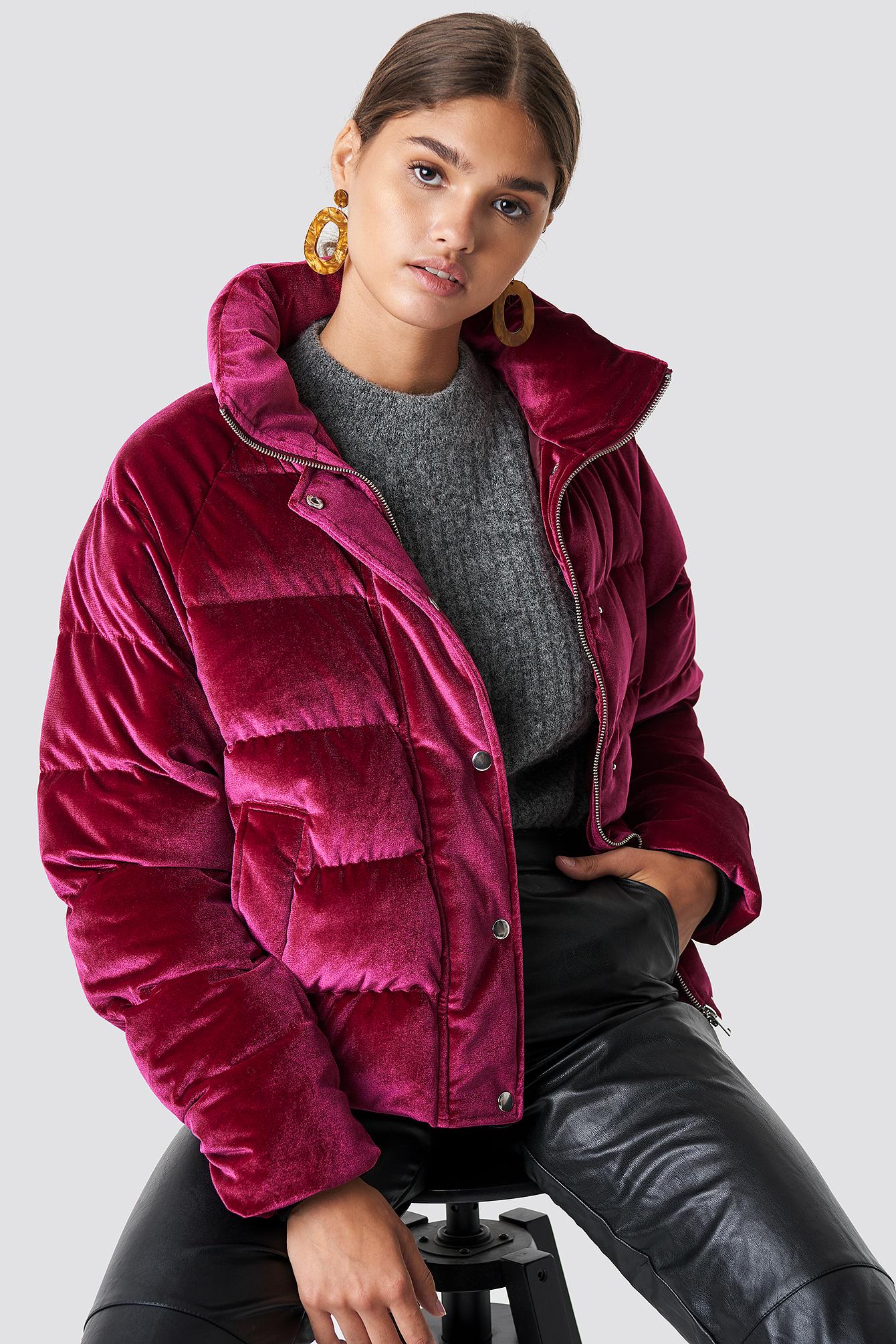 na-kd -  Velvet Puffer - Pink,Red