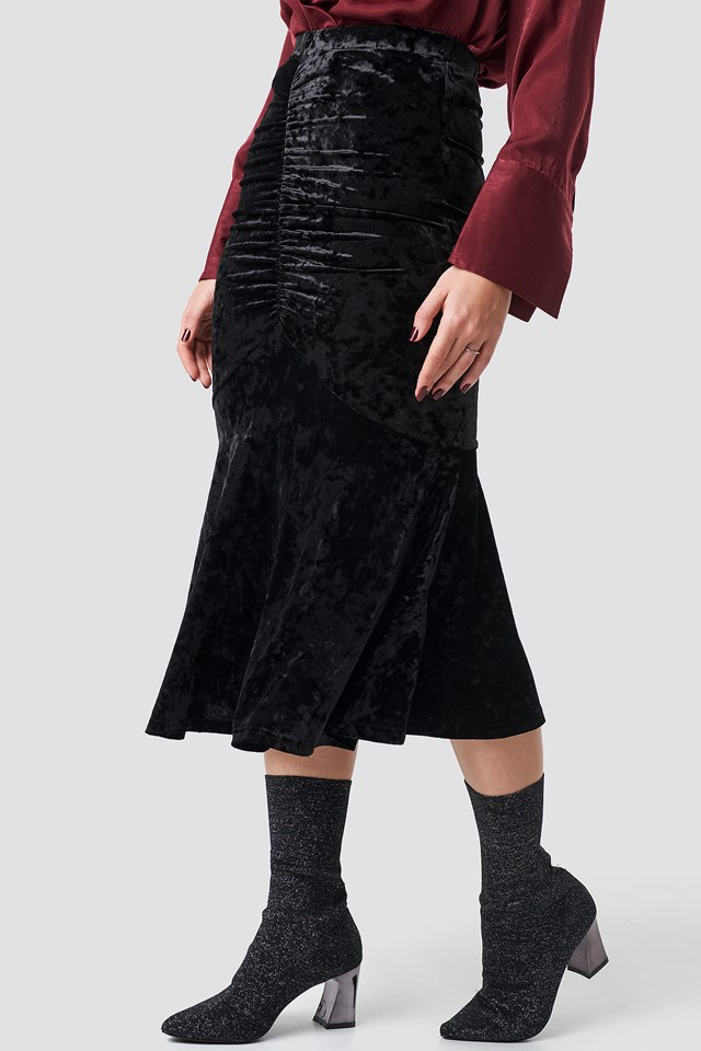 Velvet Ruched Skirt Black
