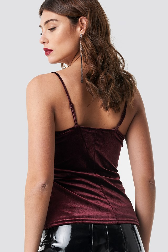 Velvet Lace Singlet Wine Red