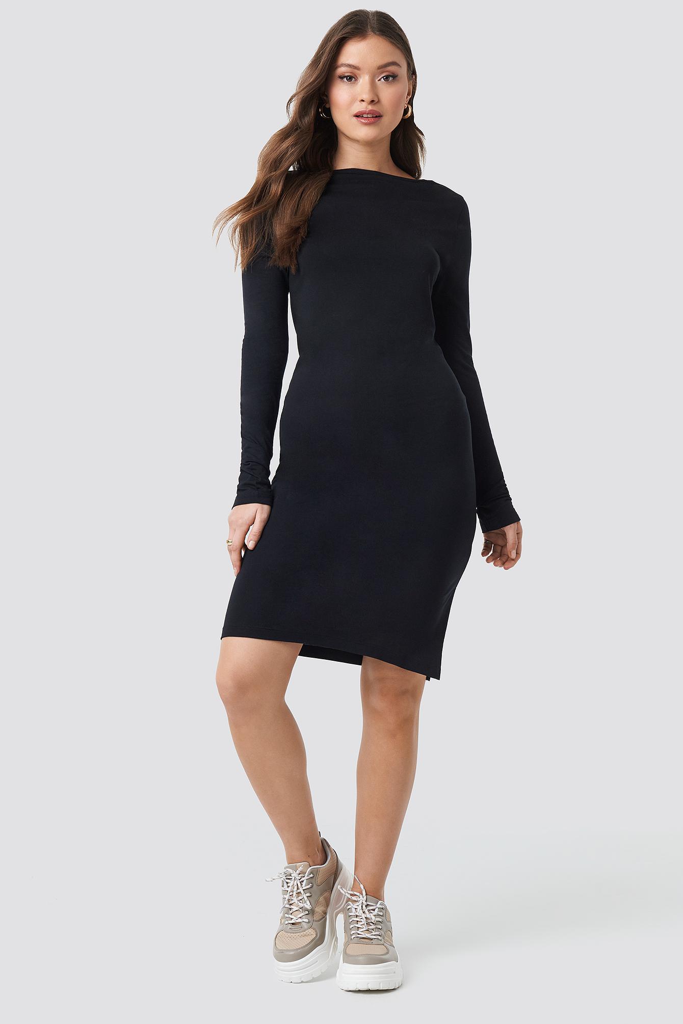 Viscose Deep Back Dress NA-KD.COM