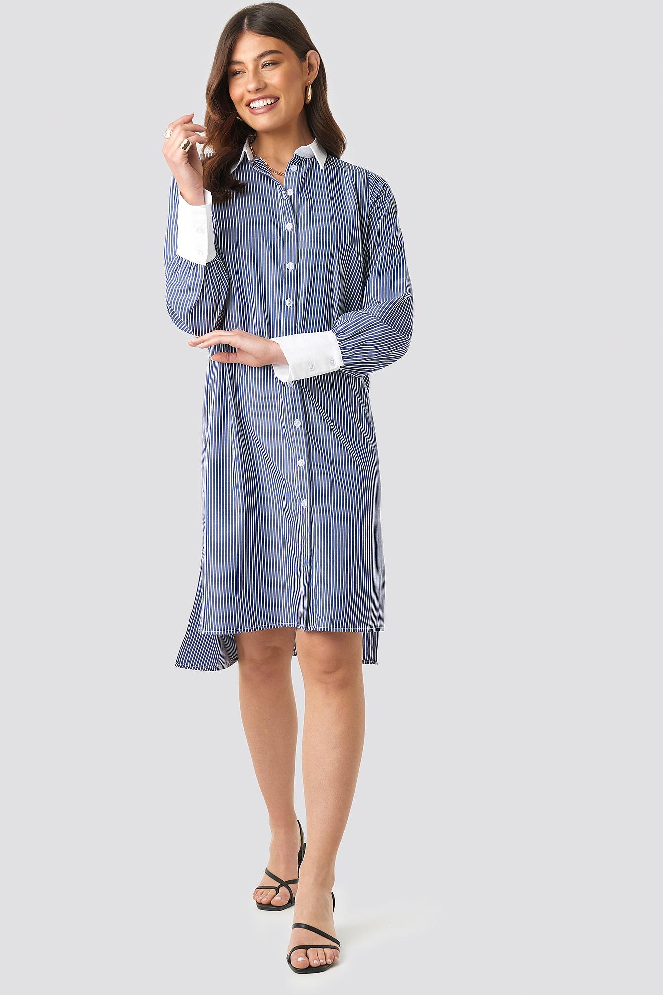Wide Cuff Striped Shirt Dress NA-KD.COM