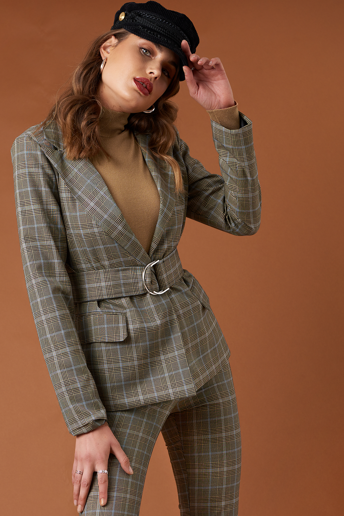 na-kd classic -  Wide Neck Belted Blazer - Grey,Multicolor
