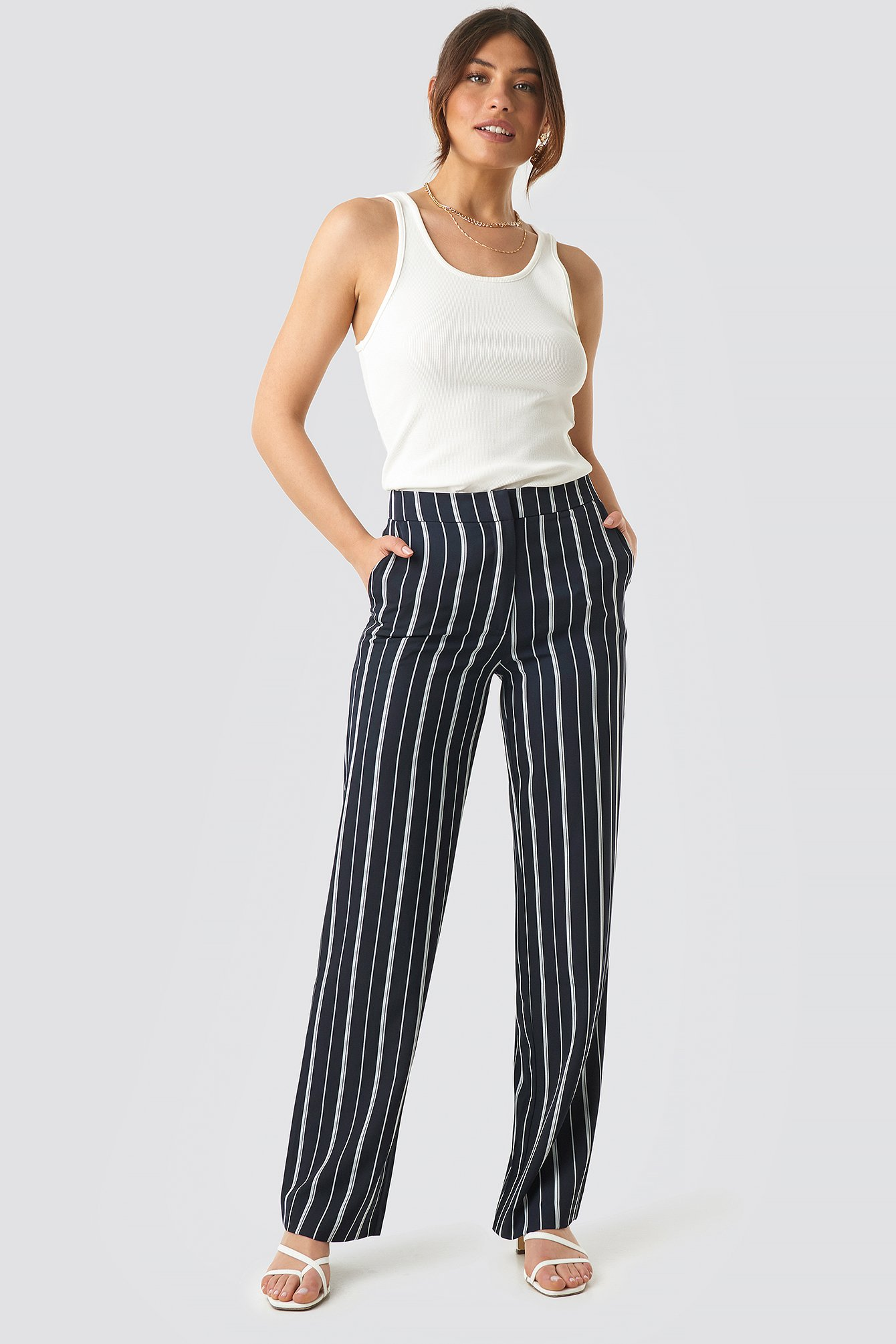 NA-KD Classic Wide Striped Suit Pants - Navy