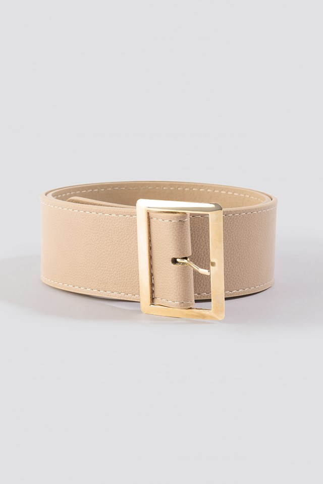 Wide Waist Belt Beige