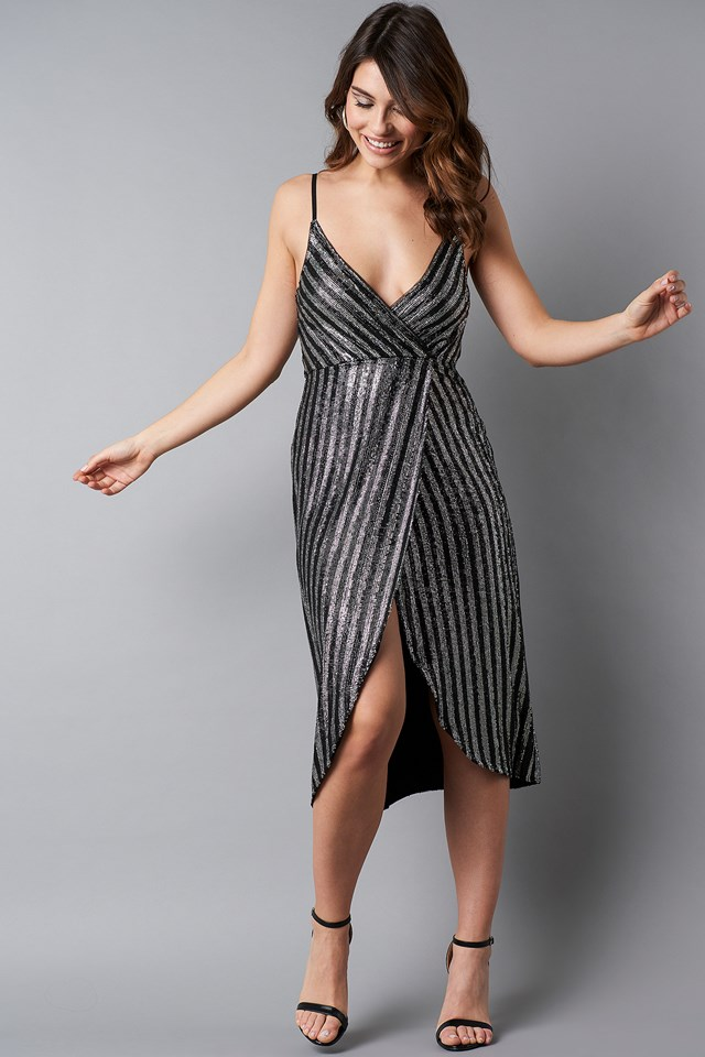 Wrap Over Striped Sequins Dress Black/Silver