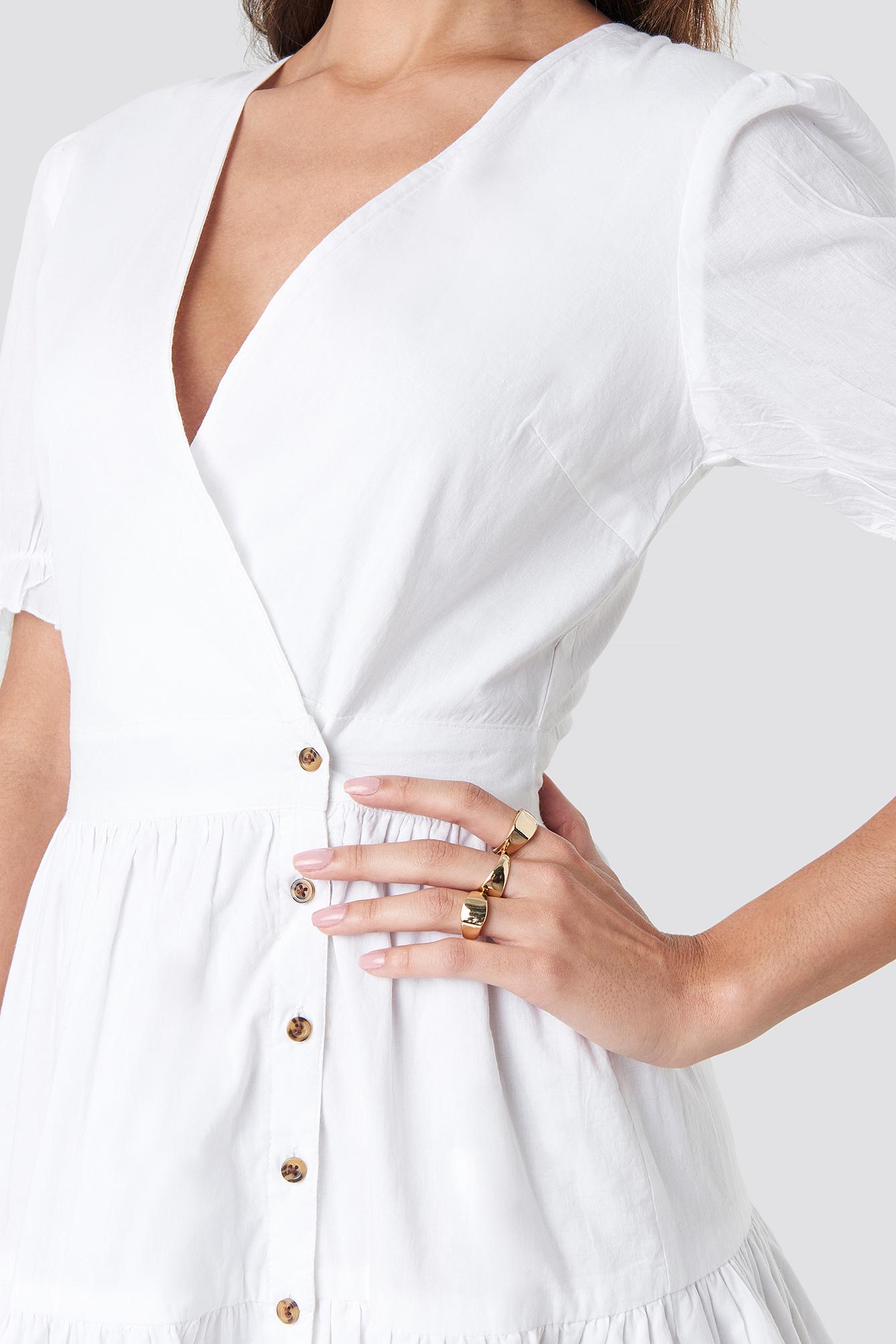 Wrap Front Puff Sleeve Button Dress NA-KD.COM