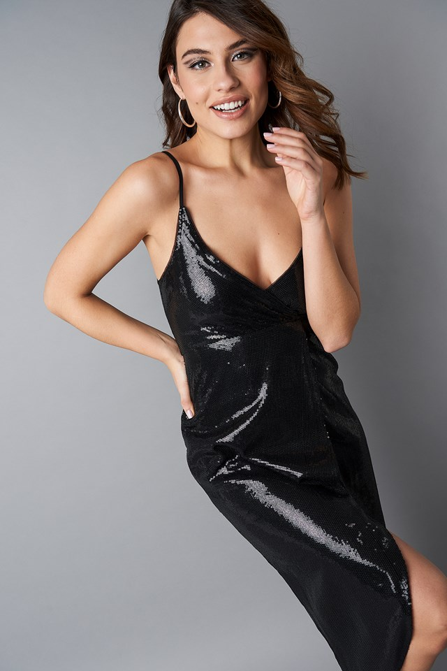 Wrap Over Sequins Dress Black