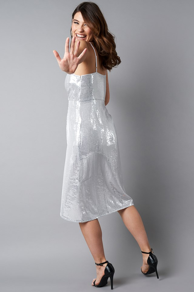Wrap Over Sequins Dress Silver