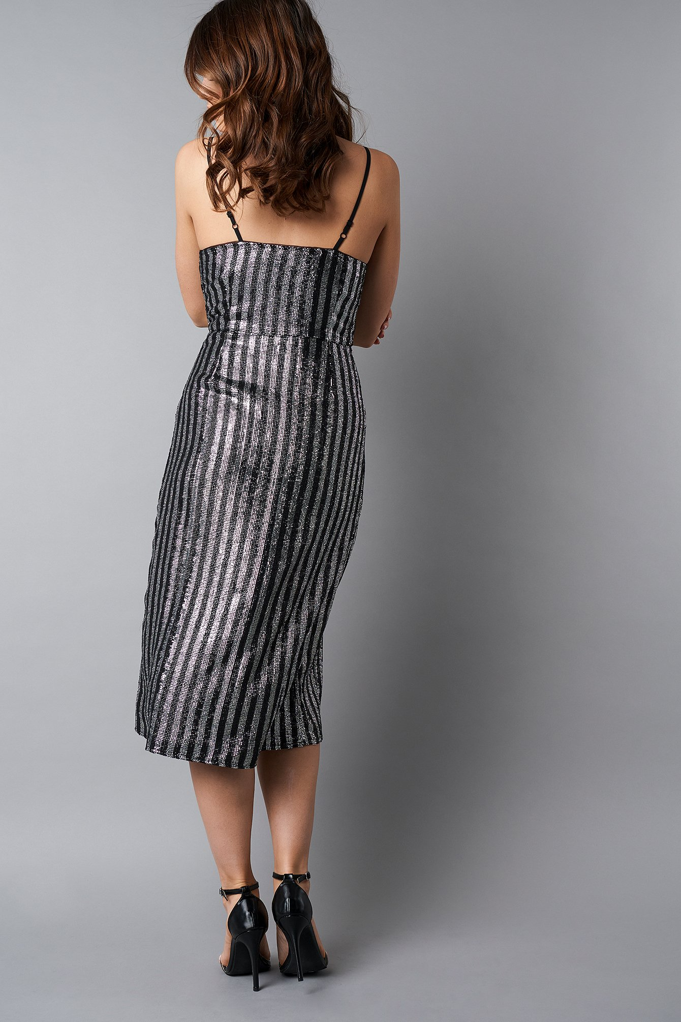 Wrap Over Striped Sequins Dress NA-KD.COM