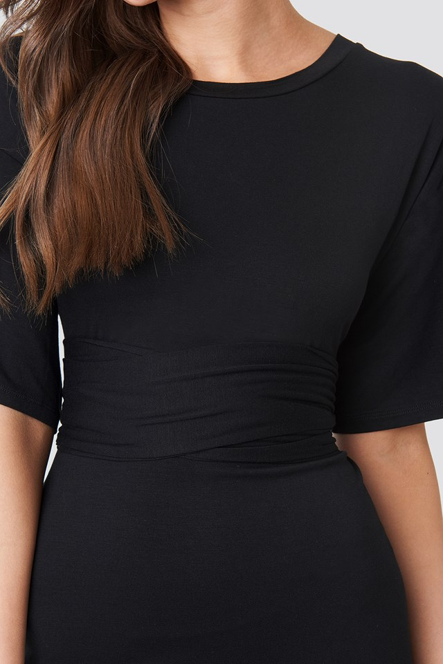 Wrapped Detail Jersey Dress Black