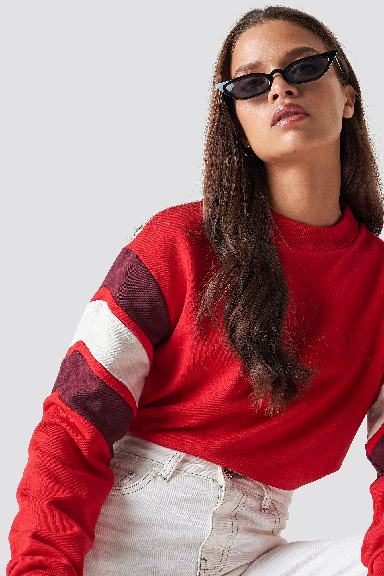 na-kd -  Blocked Bicep Sweatshirt - Red