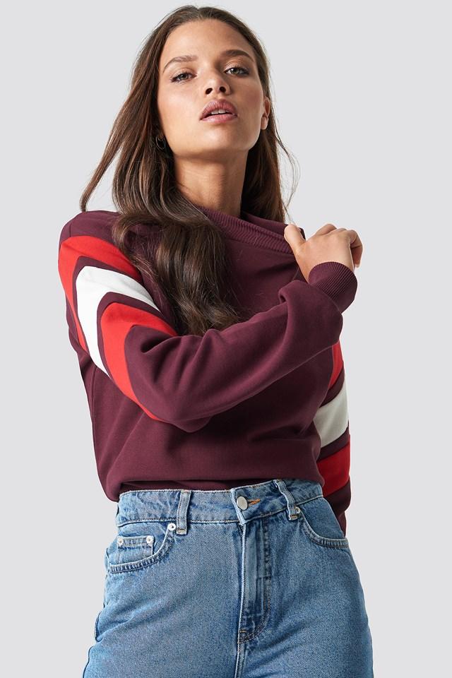 Blocked Bicep Sweatshirt Dark Red