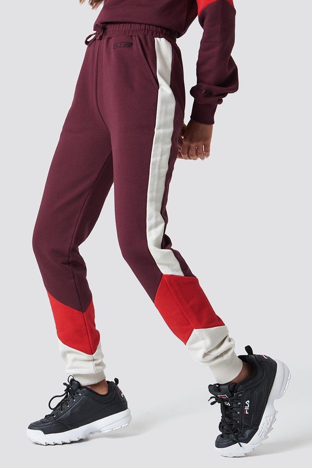 Blocked Sweatpants Dark Red
