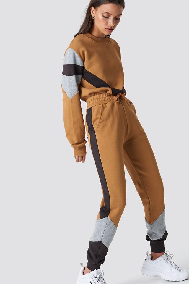 Blocked Sweatpants Golden Beige