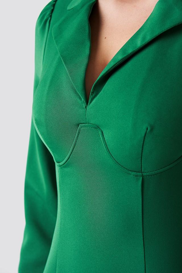 Boning Detail Midi Dress Green
