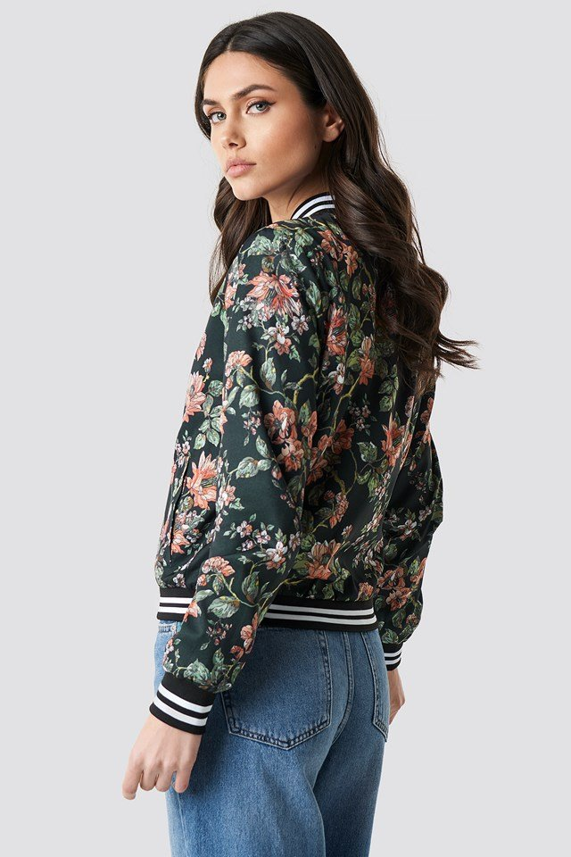 Dark Floral Bomber Jacket Flower Comb