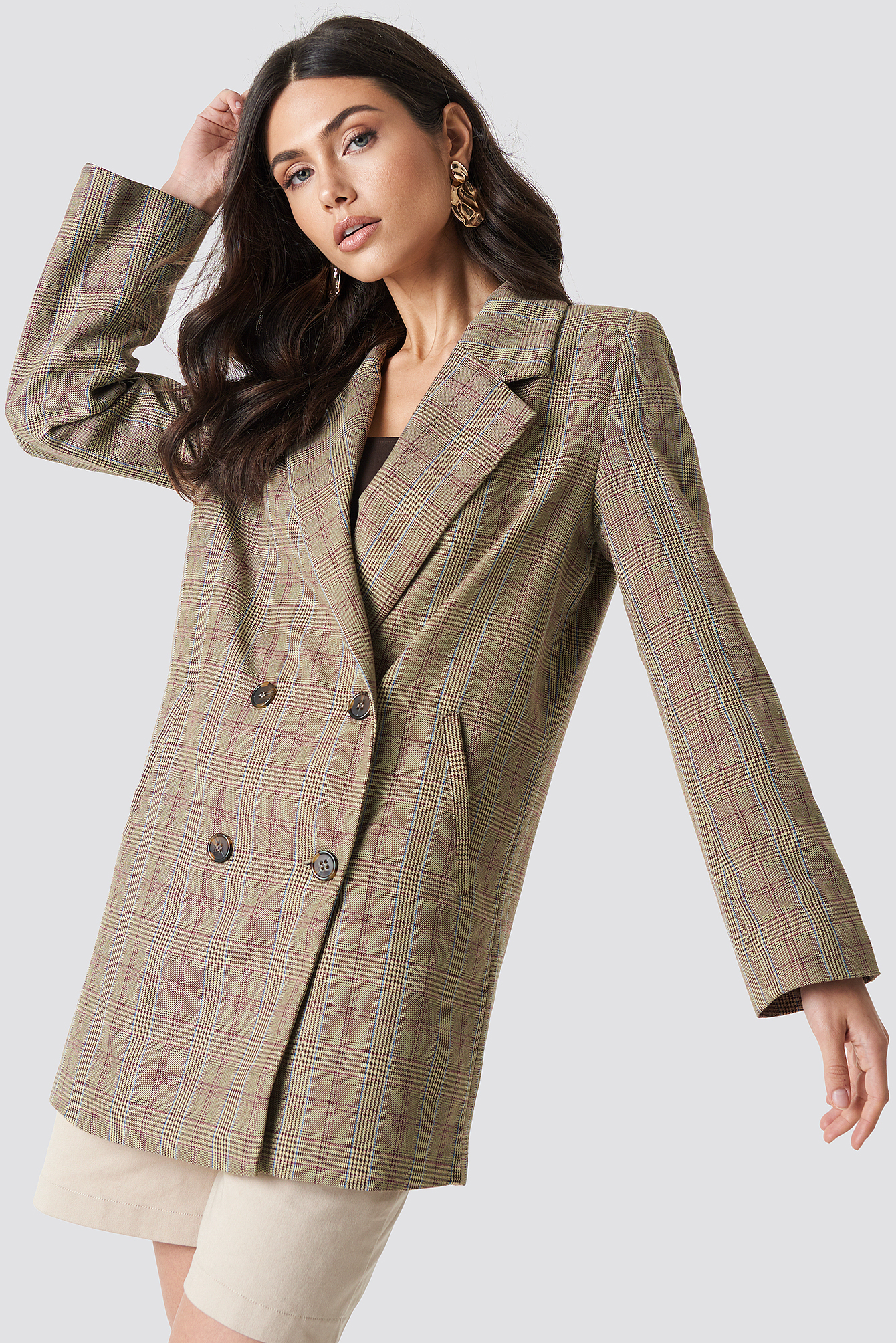 na-kd -  Double Breasted Plaid Jacket - Brown
