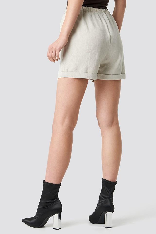 Drawstring Waist Shorts Light Beige