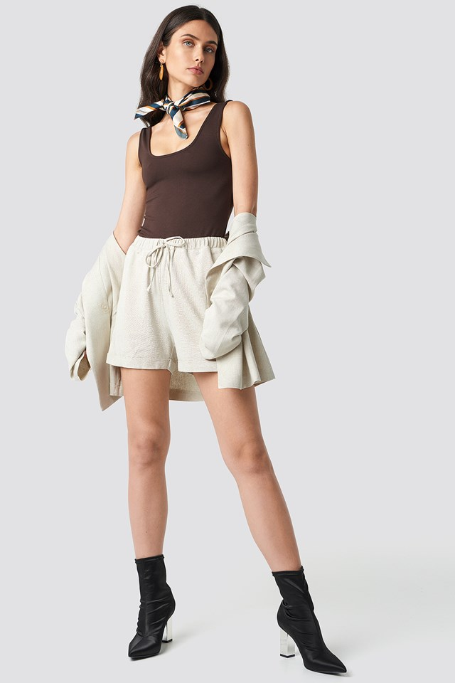 Drawstring Waist Shorts Light Beige
